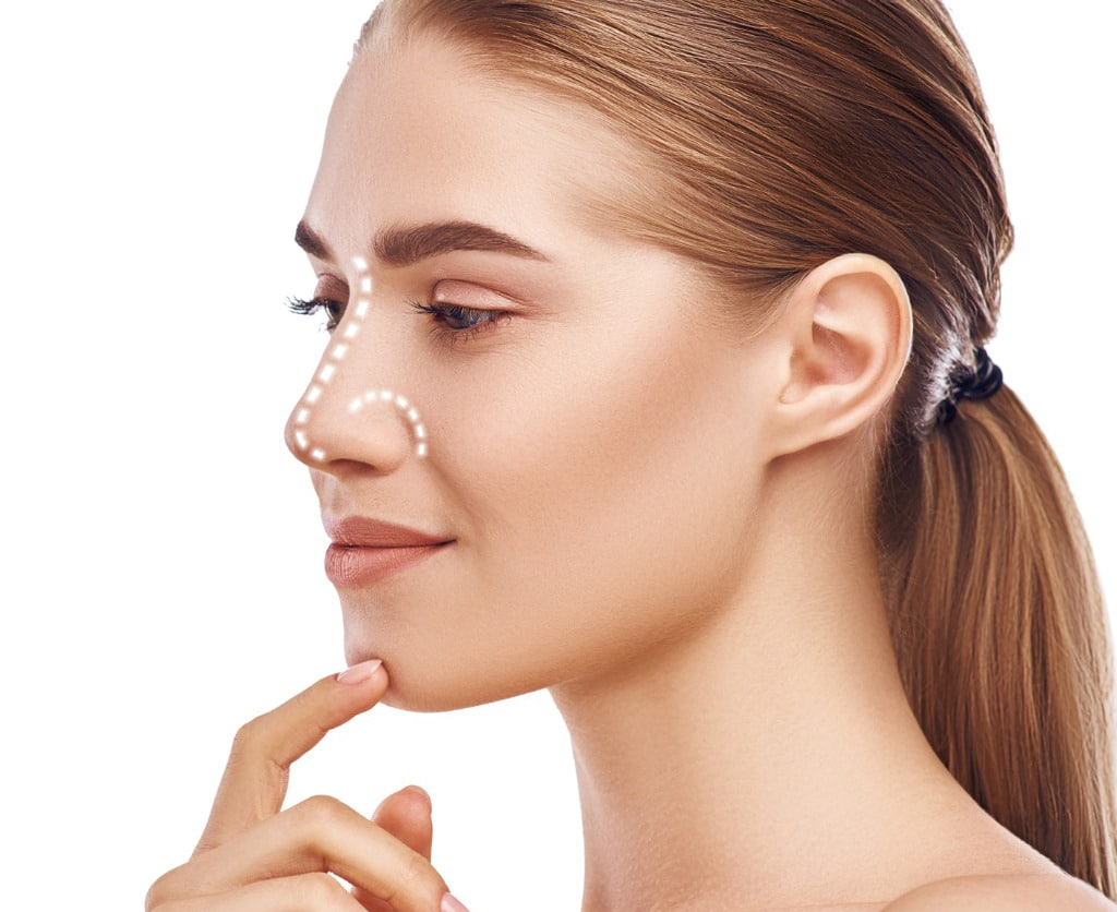rhinoplasty nose surgery side view of attractive young woman with picture id1142167563 1